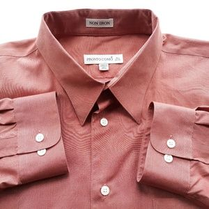 Pronto Uomo Mens 18.5 I 34/35 Brown Shirt